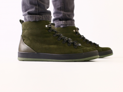 Мужские зимние ботинки из нубука цвета хаки, на шнурках