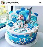 Топпер Цифра 1 на торт Топпер цифра 1 в блискітках Срібляста цифра 1 Цифра на паличці в торт, фото 2