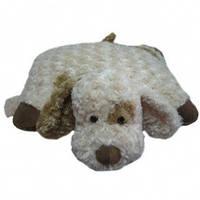 Мягкая игрушка собака подушка кремовая 45см