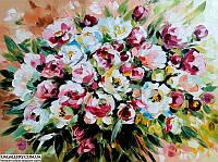 Абстрактная картина цветы пионы