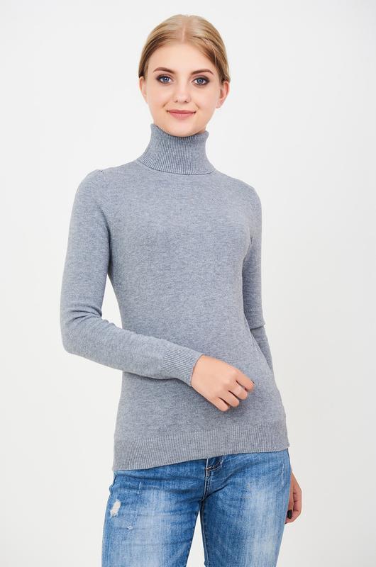 Гольф женский зимний базовый серый Milano Zone Милано с высоким горлом и манжетами L   XL 46 48 50