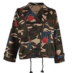 Курточка женская милитари с цветочным принтом короткая осенняя