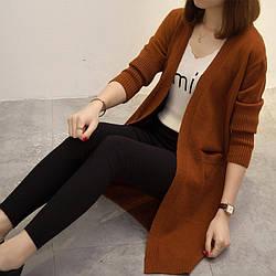 Женский теплый кардиган коричневый цвет