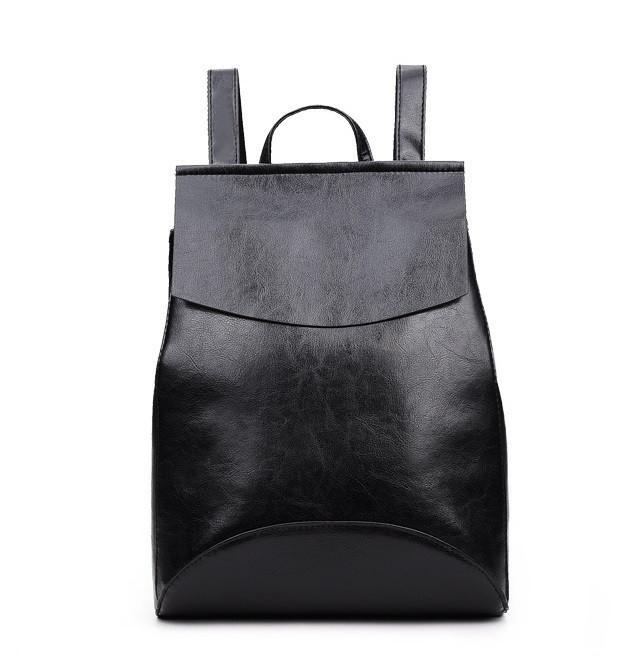 Черный рюкзак-сумка из качественной экокожи