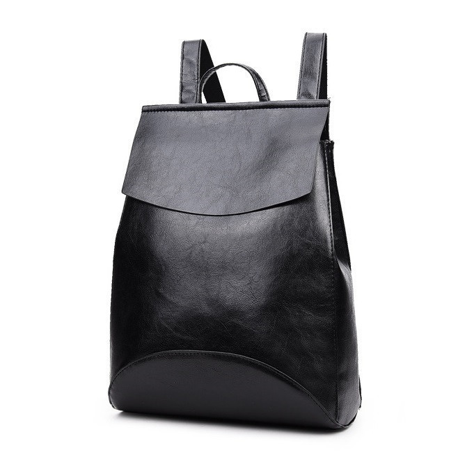 Черный рюкзак-сумка из качественной экокожи, фото 2