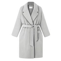 Женское серое пальто на поясе