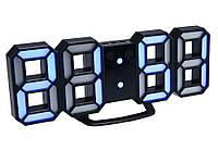 Часы 3D светодиодные светящиеся Digoo с будильником Черный корпус Синий