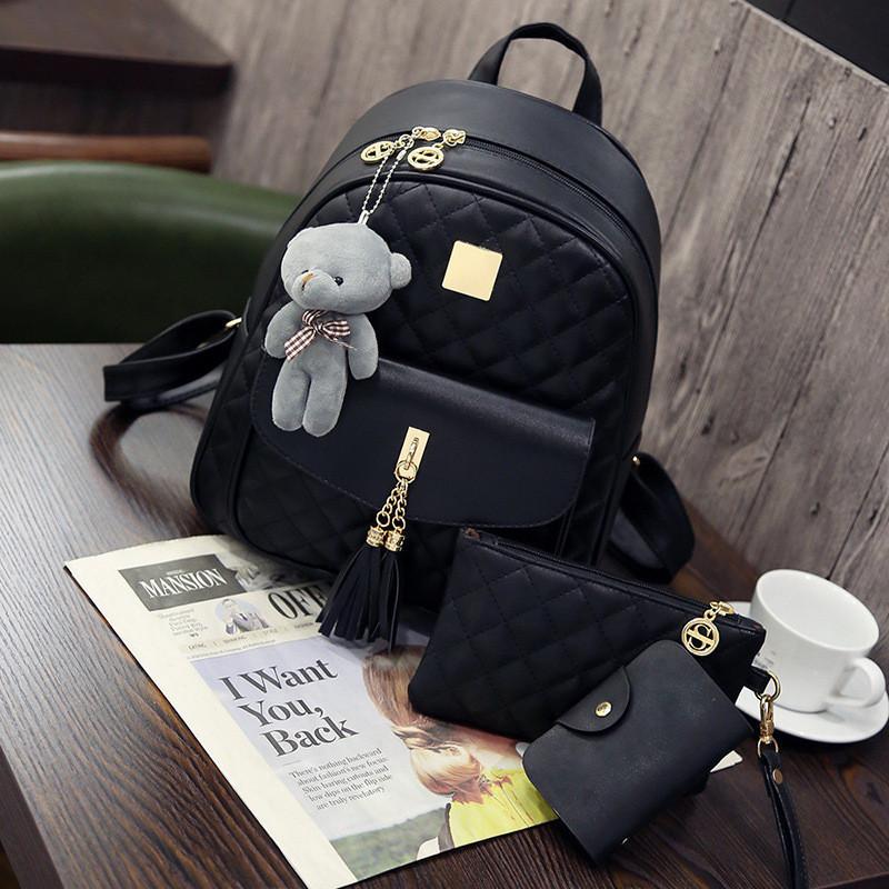 Рюкзак стеганый 3в1 с брелочком, фото 1
