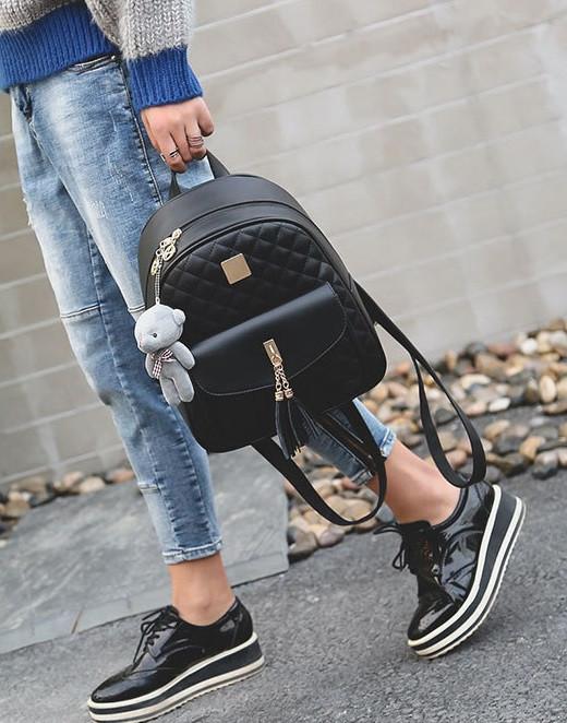 Рюкзак стеганый 3в1 с брелочком, фото 5