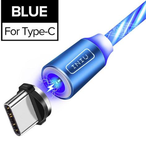 INIU Магнитный кабель USB Type-C с подсветкой быстрая зарядка 2.4А для Android Samsung Xiaomi Цвет голубой