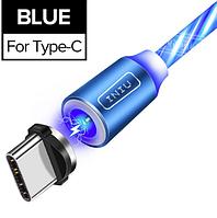 INIU Магнитный кабель USB Type-C с подсветкой быстрая зарядка 2.4А для Android Samsung Xiaomi Цвет голубой, фото 1