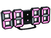 Настінний годинник 3D Digoo з будильником світлодіодні Чорний корпус Рожевий