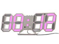 Настінний годинник 3D Digoo з будильником світлодіодні Білий корпус Рожевий