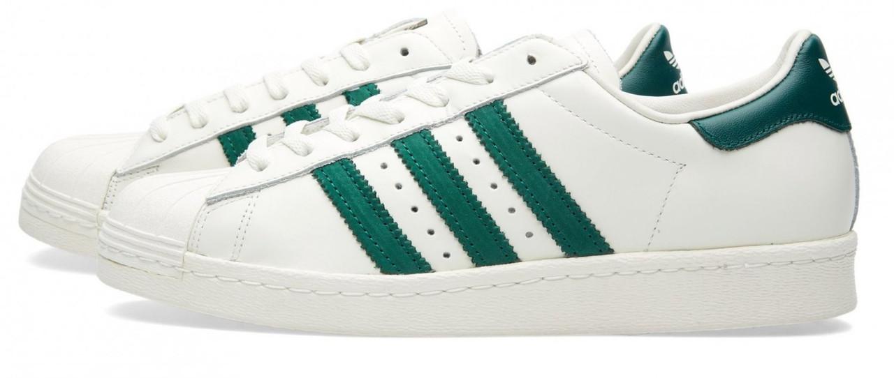 Кроссовки Adidas Superstar 80 S белые с зеленым