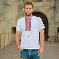 """Мужская вышитая футболка: красная вышивка """"Алатырь"""", (белая)"""