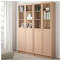 IKEA BILLY/OXBERG Книжный шкаф с дверями, дубовый шпон, стекло (192.499.63)
