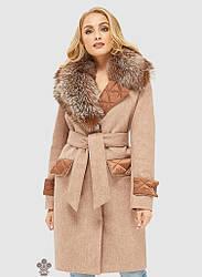 Шикарное зимняя женское пальто  с натуральным  мехом ПВ-105н