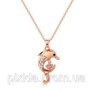 Подвеска Дельфин на цепочке покрытие 14К золото фианиты