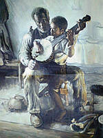 """Копия Генри Оссава Таннера """"Урок игры на банджо"""" (1893)"""
