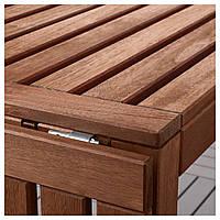 IKEA APPLARO Садовый стол и 6 раскладных стульев, коричневая морилка, (192.687.39)
