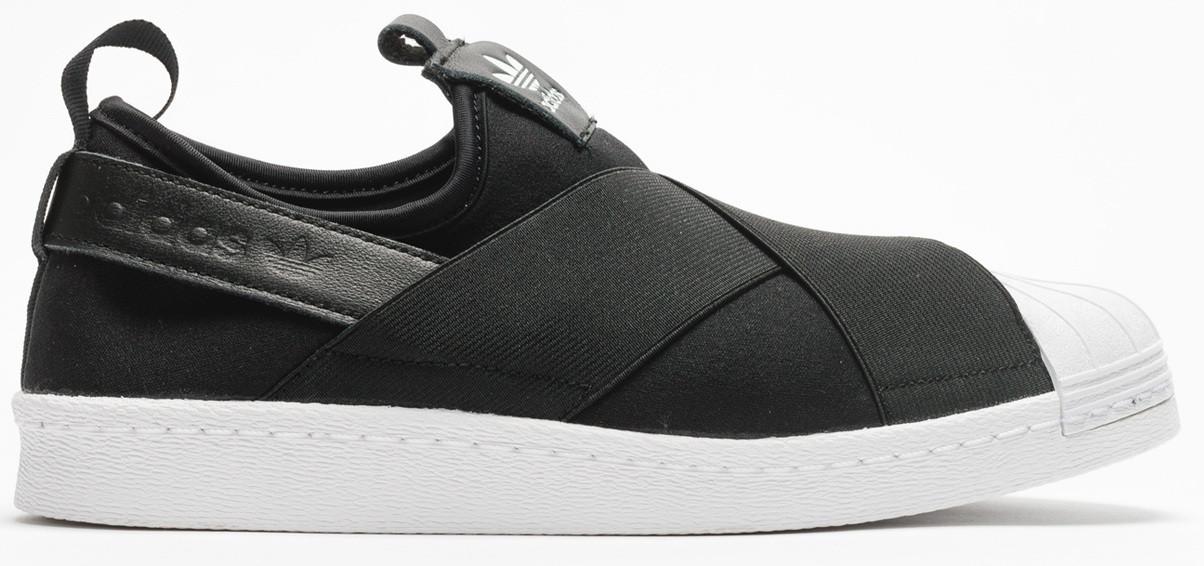 Женские кроссовки Adidas Superstar Slip On в черном цвете