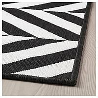 IKEA SKARRILD Ковер безворсовый, внутренний/внешний, белый, черный (504.351.99)