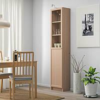 IKEA BILLY/OXBERG Книжный шкаф с дверями, дубовый шпон, стекло (392.874.16)