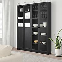 IKEA BILLY/OXBERG Книжный шкаф с дверями, черно-коричневый, стекло (892.807.33)