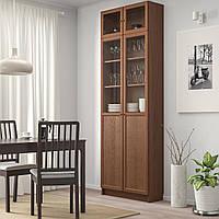 IKEA BILLY Книжный шкаф с дверями, коричневый шпон ясень (592.873.40)