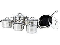 Большой Набор Посуды Bohmann BH 0922 Кухонный Комплект Нержавеющая Сталь 12 Предметов