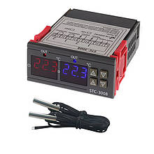 Сдвоенный цифровой терморегулятор STC-3008, 220 В