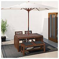 IKEA APPLARO Садовый стол с 2 стулами и скамейкой, коричневая морилка (990.539.71)