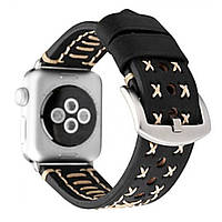 Браслет Leather Bracelet Series Thread Handmade — Apple watch 42 mm; 44 mm — Black