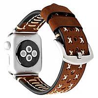 Браслет Leather Bracelet Series Thread Handmade — Apple watch 42 mm; 44 mm — Dark Brown