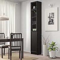 IKEA BILLY/OXBERG Книжный шкаф с дверями, черно-коричневый, стекло (192.874.22)