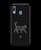 Чехол для телефона Zorrov на  Samsung Galaxy A20 White cat Black Matte