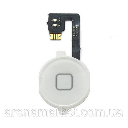 """Шлейф кнопки """"Home"""" для Apple iPhone 4 оригінал - білий колір"""