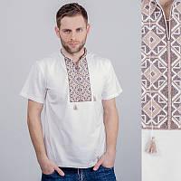 Мужская вышитая футболка: коричневая узкая вышивка, белая