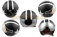 Шлем открытый   (с очками и козырьком, size:XL, черный матовый)   BEON