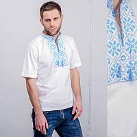 Мужская вышитая футболка: синяя снежинка, белая