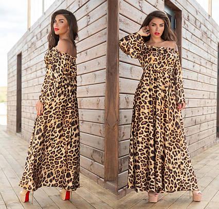 """Шикарное длинное женское платье до больших размеров 884 """"Софт Леопард Макси"""" в расцветках"""