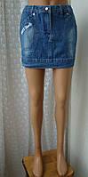 Юбка женская модная джинс мини бренд р.42