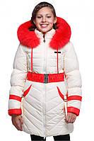 Удлиненная зимняя куртка для девочки мех песец