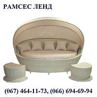 Диван с балдахином Мюз бежевый, плетеный диван, садовый диван, мебель садовая