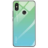 Чехол Gradient для Xiaomi Mi A2 Lite / Redmi 6 Pro бампер накладка Green-Blue, фото 1