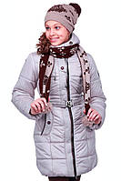 Очаровательная детская курточка на зиму с шарфиком