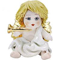 Фигурка колекционная из фарфора, ручная робота, Италия «Ангелочек с трубой» h-9 см. Zampiva 93146