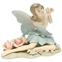 Фигурка статуэтка фарфоровая колекционная «Эльф с цветами» h-13 см. 350-3004