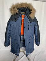 Зимняя куртка Собственное производство Голубая подростковая зимняя куртка на мальчика с синей отделкой, 38 - 44 SKU_Лорис голубой-синий