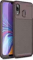 Чехол TOTO Чехол-накладка TOTO TPU Carbon Fiber 1,5mm Case Samsung Galaxy A20/A30 Coffee SKU_F_95670